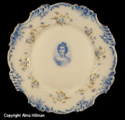 Blue and White floral portrait plate